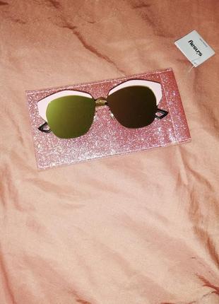 Солнцезащитные очки с чехлом для очков, зеркальные пудровые