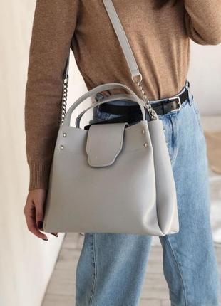 Серая вместительная сумка шоппер (есть цвета)