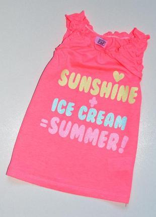 """F&f. яркая майка на девочку """" солнце+мороженое= лето"""". 18-24 мес. рост 92 см"""