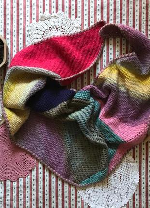Яркий вязаный шарф платок палантин бактус ручная работа шерсть