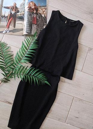 Стильное платье по фигуре в обтяжку футляр в рубчик xs s