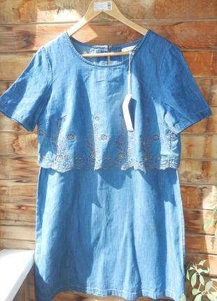 Новое натуральное платье с вышивкой  подарю, пересылка ваша