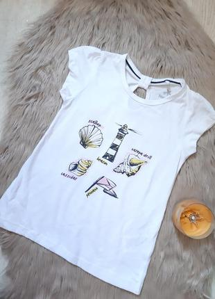 Белая стильная футболка lupilu 4 - 6 лет