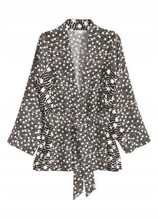Черно-белый жакет кимоно накидка h&m