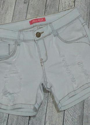 Светлоголубые рваные шорты miss re на бедра 90-92см. возможен торг