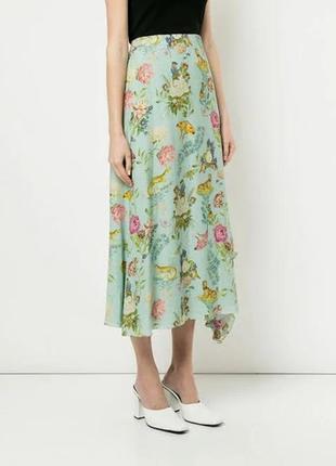 Красивая вискозная юбка цвета мяты в цветы размер 22-24 (54-58)