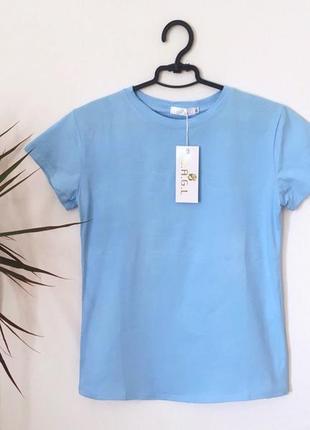 Новая качественная коттоновая футболка голубая