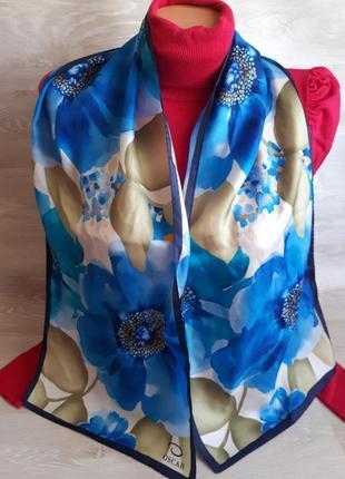 Эксклюзивный шелковый шарф oscar de la renta 100%шелк