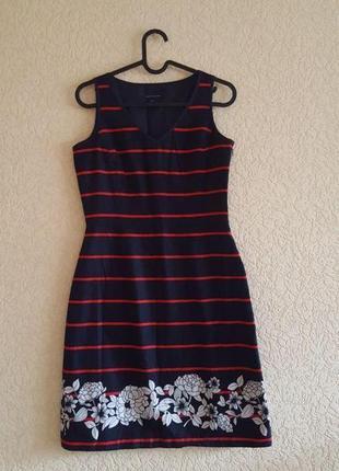 Синее платье tommy hilfiger xs женское красное в цветы сарафан яркий томми хилфигер