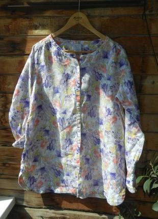 Красивенная льняная рубашка туника блуза большой размер