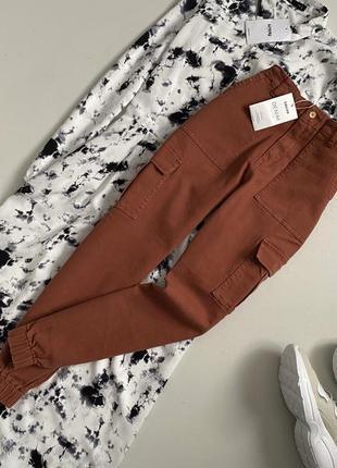 Новые трендовый джинсы карго с высокой посадкой cropp