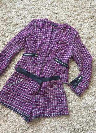 Костюм твидовый твид, шорты пиджак тёплый