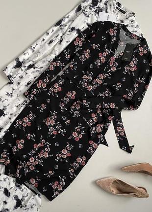 Новое шикарное цветочное  платье рубашка миди с пояском house