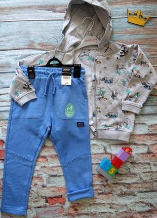 Костюм  кенгурушка с принтом зоопарк и тонкие однотонные штанинки джорж george +  matalan3 фото