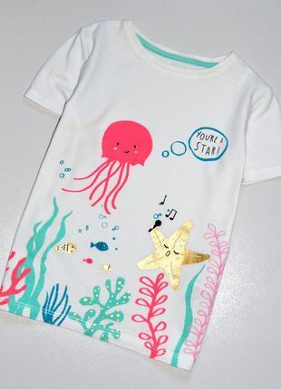 M&s. шикарная футболка с морским принтом. 6-7 лет. рост 122 см. хлопок