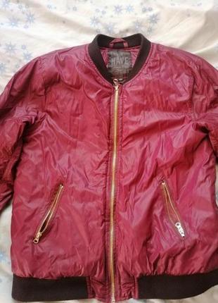 Куртка бомбер цвет бордо.