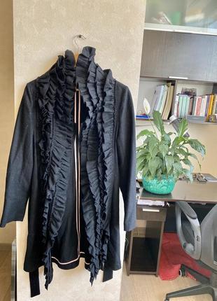 Чёрное шерстяное пальто, размер s