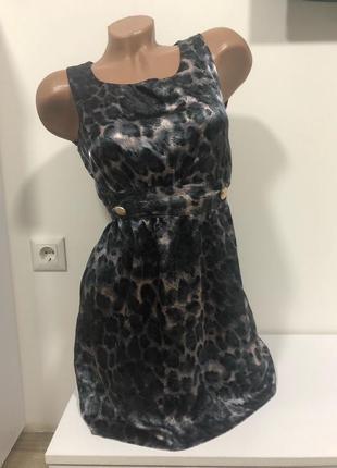 Платье из атласа легкого как шелк сарафан леопардовый принт