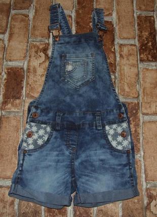 Ромпер джинсовый 6 - 7 лет девочке летний комбинезон