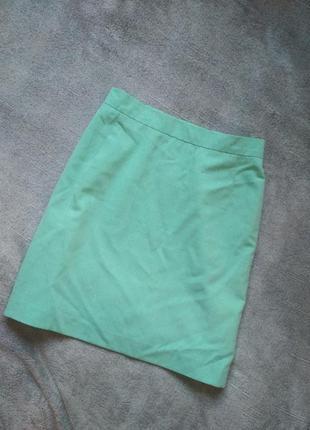 Мятная зеленая юбка на подкладке на высокой посадке