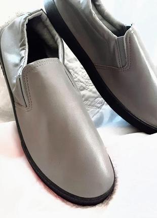 Мокасины туфли легкие удобные  на резинках серые мужские