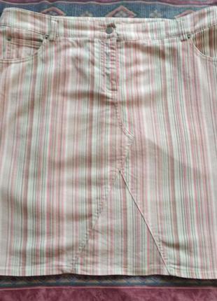 Летняя юбка в полоску  52 размер