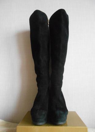 Замшеві чобітки на танкетці 25.5 см
