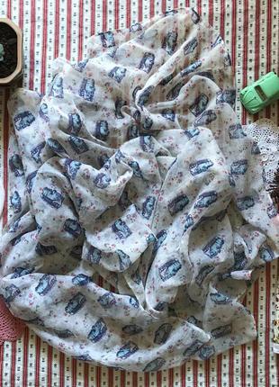Большой легкий шарф платок палантин принт хиппи tu