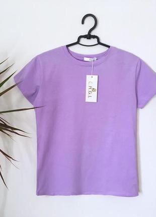Новая качественная коттоновая футболка лавандовая