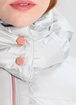 Новый пуховик оверсайз benetton куртка серебро пух 90% оригинал из италии.2 фото