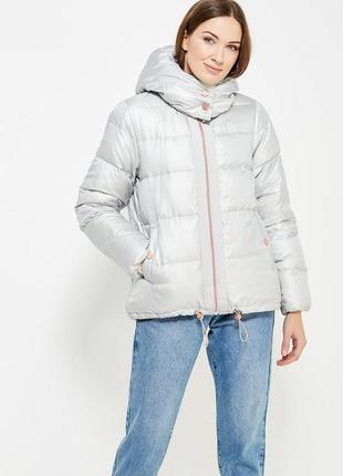Новый пуховик оверсайз benetton куртка серебро пух 90% оригинал из италии.3 фото