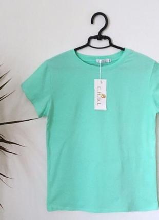 Новая качественная коттоновая футболка цвет мятный
