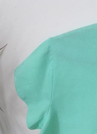 Новая качественная коттоновая футболка цвет мятный2 фото
