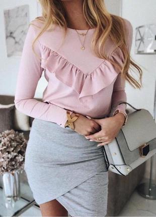 1+1=3 модная серая трикотажная юбка - карандаш на запах, размер 46 - 48