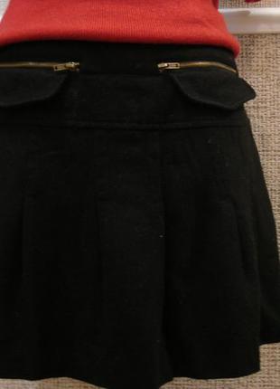 Пышная шерстяная юбка трапеция