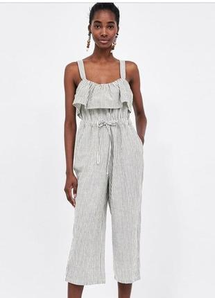 Стильный комбинезон кюлоты широкие брюки в полоску хлопковый с воланом