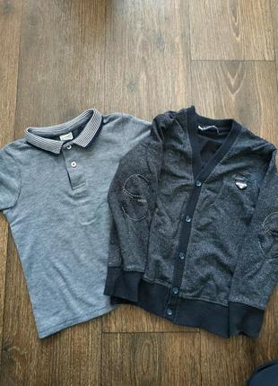 Школьный комплект, футболка поло и кофта