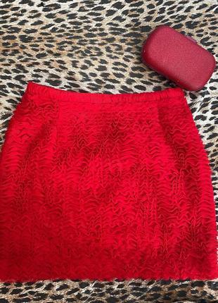 Красная мини-юбка от h&m