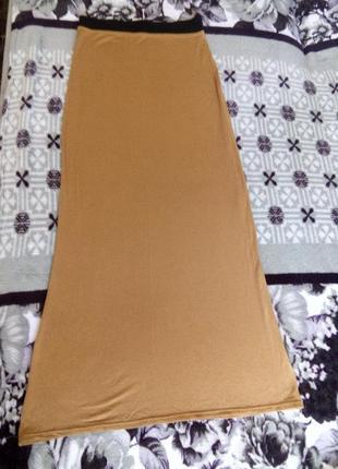 Юбка горчичного цвета длинна макси р-р 42-44