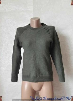 Новый мягкий шерстяной со 100%шерсти свитер/кофта цвета хаки/оливки, размер хс-с