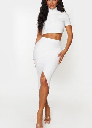 🌿 белая юбка карандаш в рубчик от prettylittlething