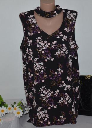 Блуза без рукавов с вырезом new look curves камбоджа принт цветы большой размер этикетка