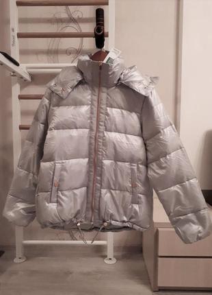 Новый пуховик оверсайз benetton куртка серебро пух 90% оригинал из италии.4 фото