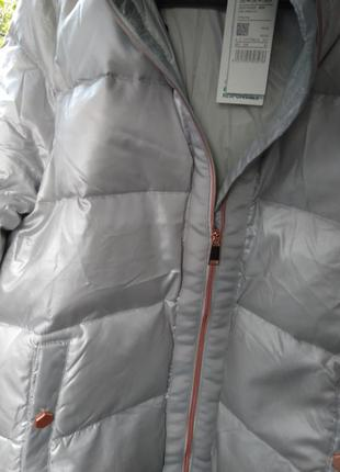 Новый пуховик оверсайз benetton куртка серебро пух 90% оригинал из италии.6 фото