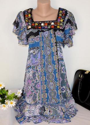 Брендовое шифоновое нарядное короткое мини платье cherry бисер камни этикетка
