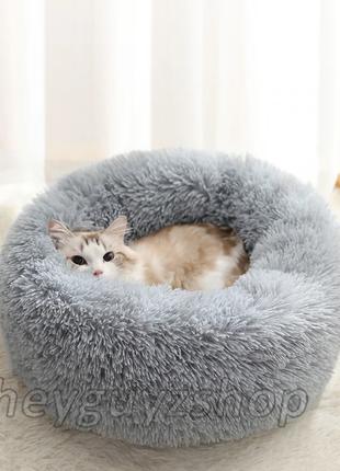 Лежак для кошки собаки круглый пушистый лежанка теплая глубокая меховая серая