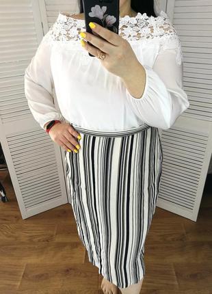 Интересная юбка в полоску, р. 22. 100% вискоза.