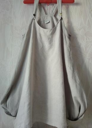 Лёгкий сарафан из льна в стиле бохо большого размера.