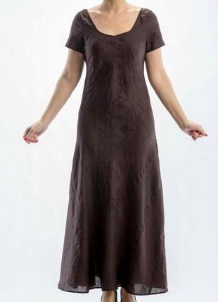 Льняное тёмно-коричневое платье
