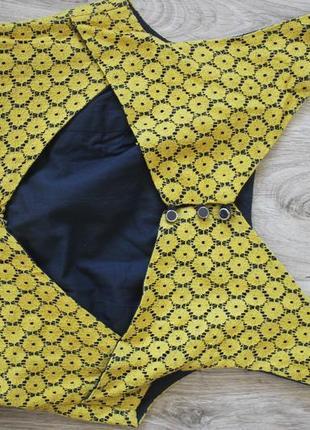 Желтое кружевное платье monteau4 фото